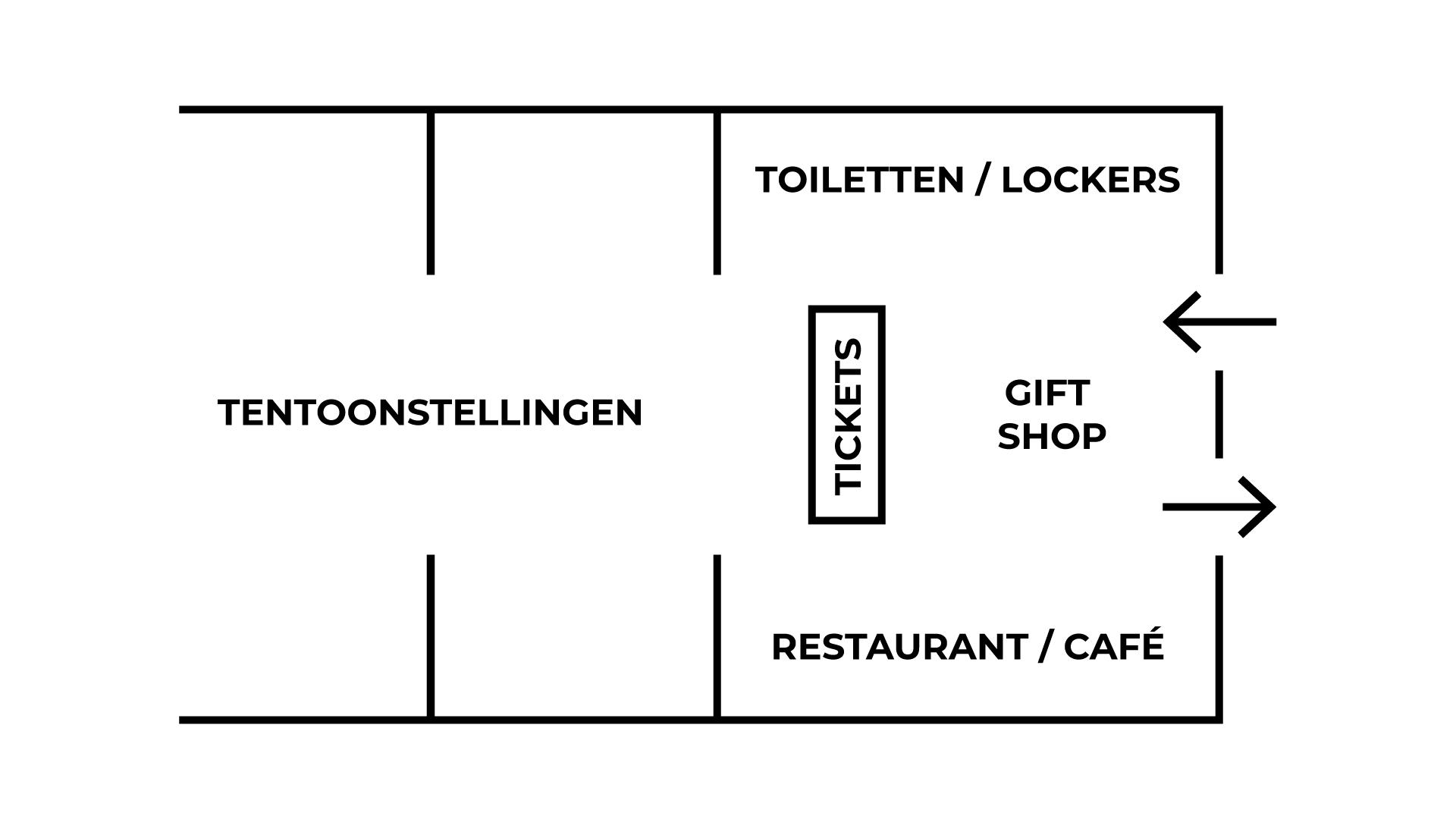 Voorbeeld plattegrond van een entreegebied van een museum.