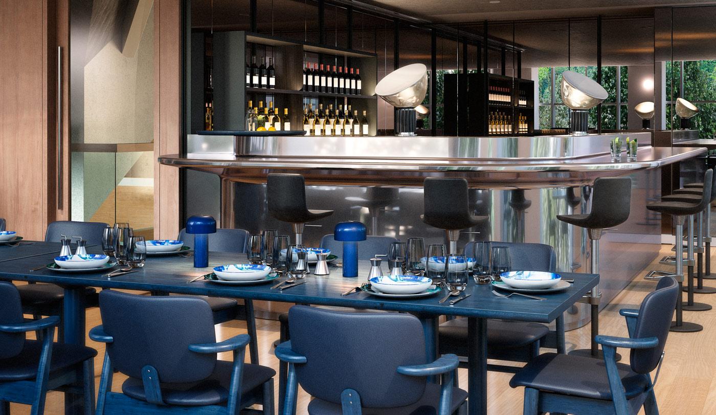 Het restaurant van het Design Museum in Londen met op tafel de Bellhop van Flos.